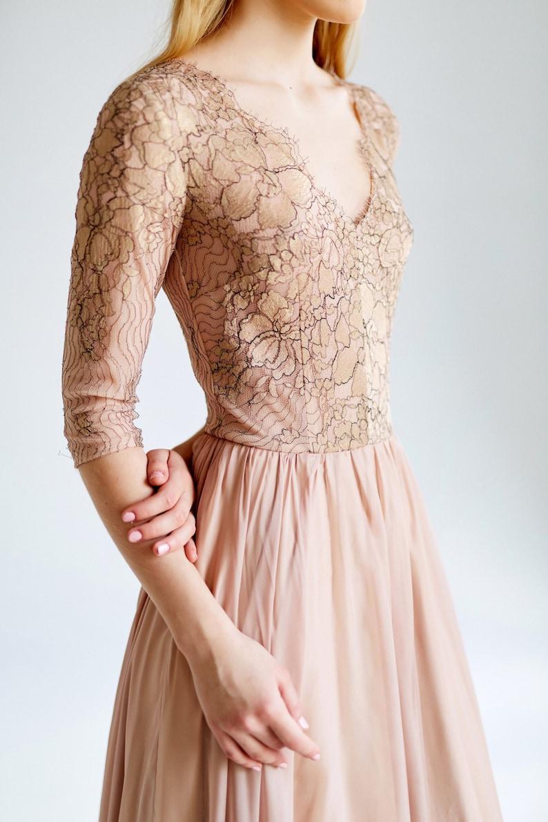 595178b5e06501 Rose gold lace and chiffon evening dress tan dress v