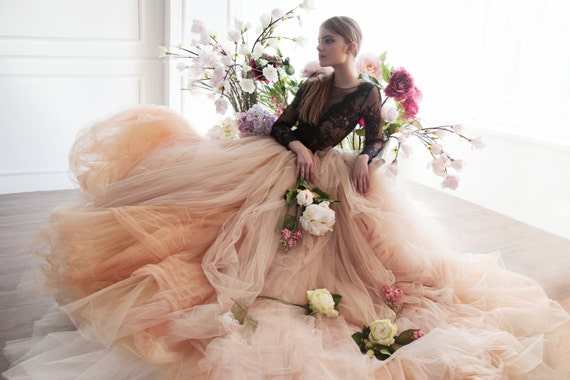 Nude Tulle Wedding Skirt Peony Bridal Separates Unique Etsy