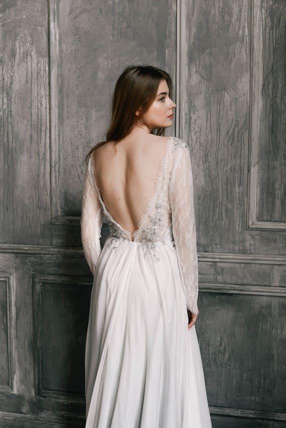 Long sleeve wedding dress //Lobelia/ Silk wedding gown open | Etsy