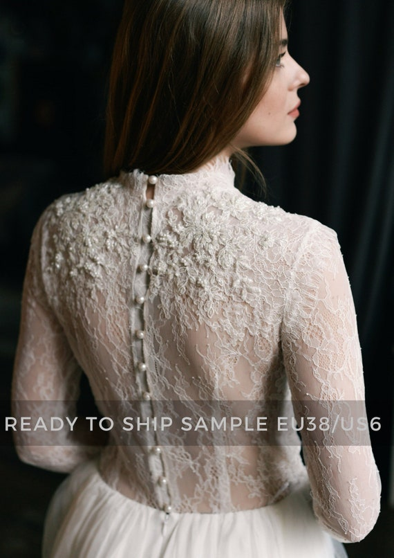 Sample Sale Lace Wedding Dress Peitho Tulle Wedding Gown Etsy