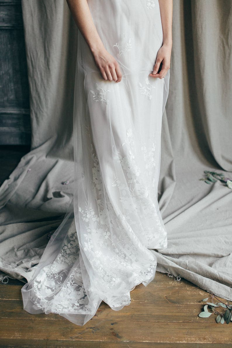 Lace wedding dress// Mallow/ Simple tulle wedding gown open image 0