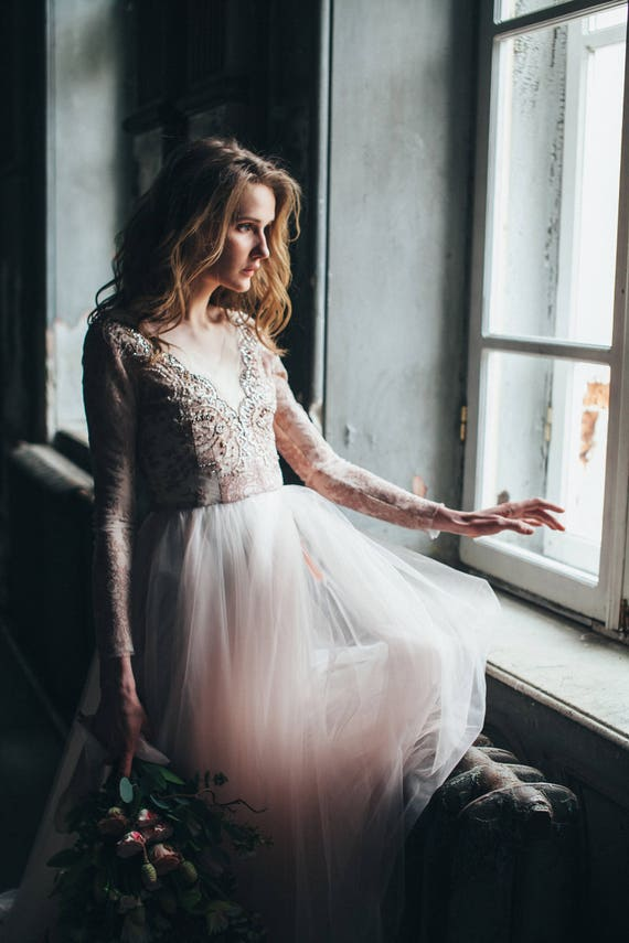 Tulle wedding gown // Orchidee /Blush wedding dress lace | Etsy