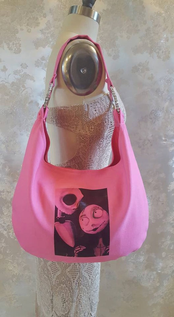 6c0e793d2922 Hobo Bag Hot Pink Jack and Sally Nightmare Before Christmas