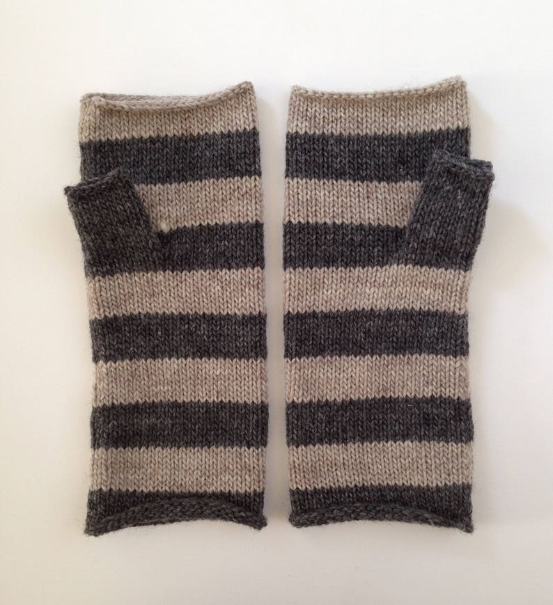 Fingerless mittens stripe USA made wool charcoal and oatmeal image 0