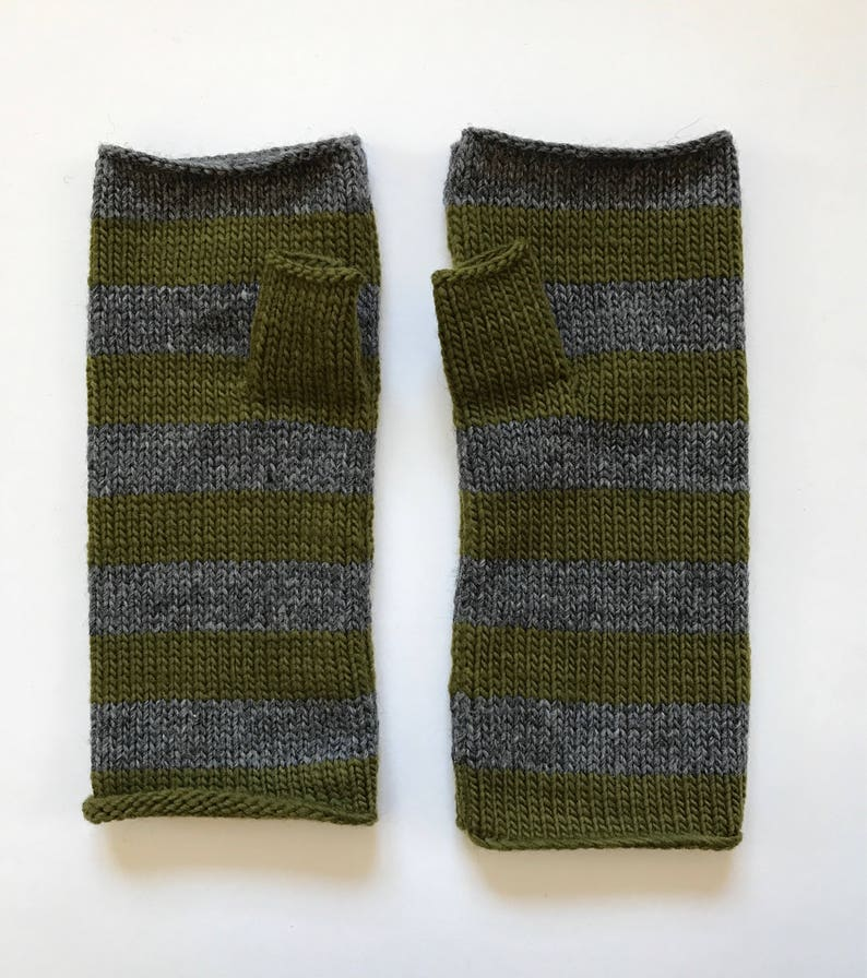 Fingerless mittens stripe USA made wool charcoal grey and image 0