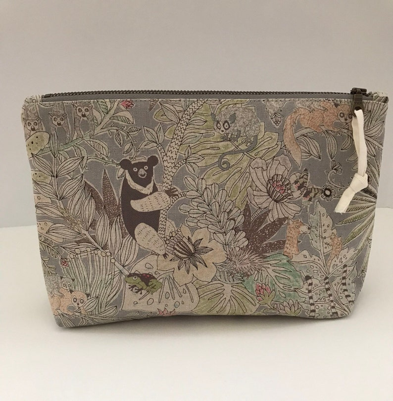 Zipper pouch medium size grey background jungle animal print image 0