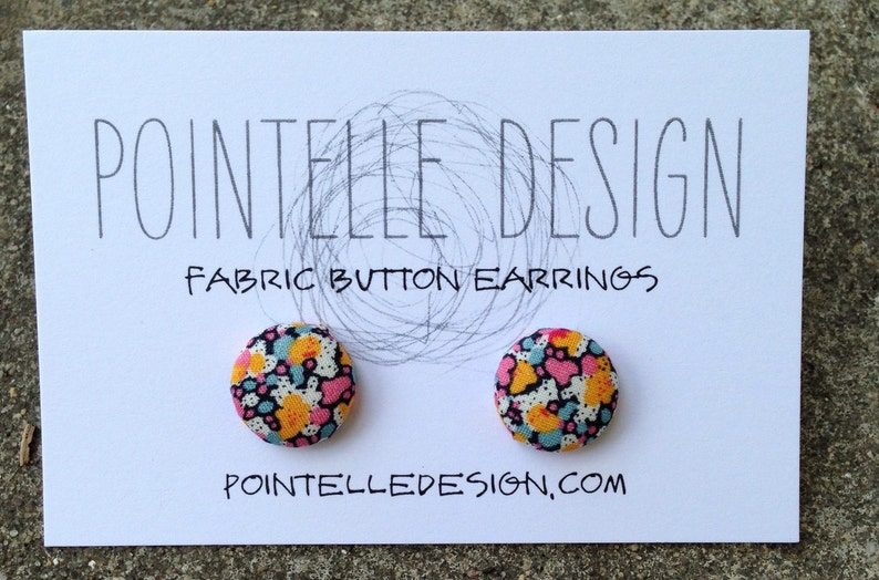 Tiny floral fabric covered button earrings with stainless image 0