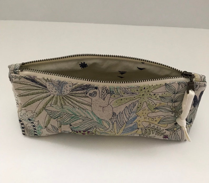 Pencil pouch small zip pouch cotton and linen jungle print with cotton lining