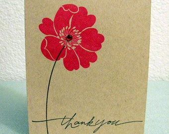 Thank You Stamped Flower Greeting Card