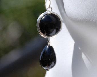 Black Onyx Stone earrings Black Gemstone Earrings Silver bezel drop earrings Silver custom earwire earrings Gemstone jewelry