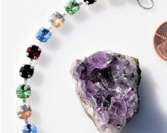 10% OFF Rivoli silver Bracelet Cup chain Bracelet 7 inch 6mm Cup chain jewelry Rhinestone bracelet Swarovski bracelet