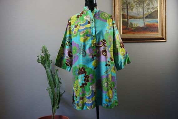 60s Retro Vintage TUNIC | Floral Tunic TOP | Penth