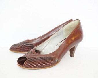 Vintage 70's Nickels Brown Peep Toe Pumps (Heels)- Womens Size 7.5 B