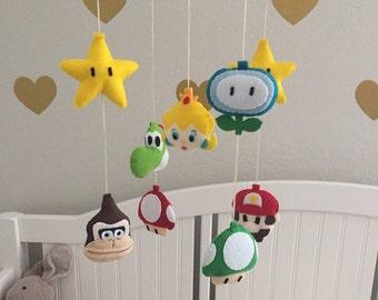 Felt Super Mario and Princess Peach Theme Baby Mobile