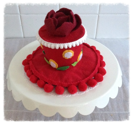 Mini Felt Red Rose Birthday Cake Hat