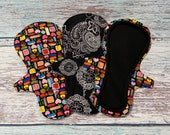 "10"" Overnight Reusable Cloth Menstrual Pads in Mehendi Print or Sweet Treats, Leak Resistant Cloth Pads, Moderate Incontinence Pads"