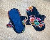 "9"" Blue Connections Print Cloth Menstrual Pads, 9 inch Reusable Moderate Days Leak Resistant Inner Lining, Incontinence, Wicking Cloth Pads"