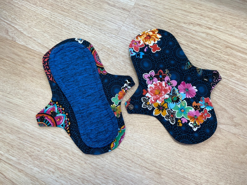 9 Blue Connections Print Cloth Menstrual Pads 9 inch image 0