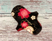 """8"""" Reusable Cloth Menstrual Pad - 8 inch Moderate Day Leak Resistant Sanitary Napkin in Striking Asian Floral Incontinence Pad, Cloth Pads"""