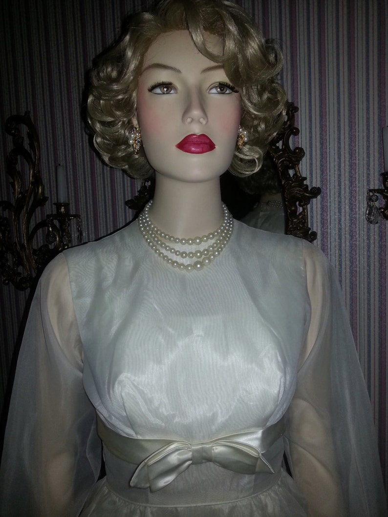 Vintage 1950 S White Pearl Studded Chiffon Dress With Etsy