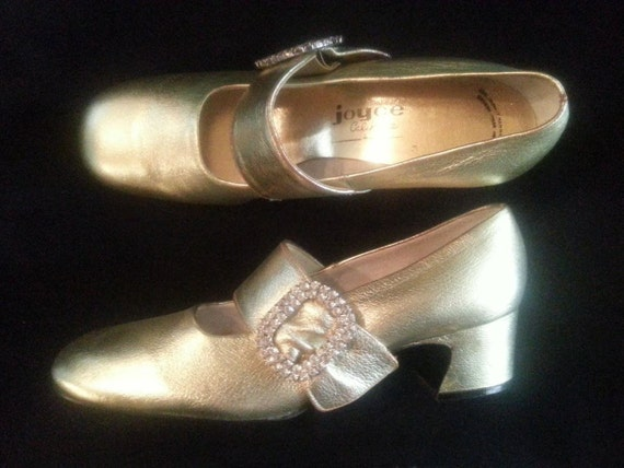 Vintage  Mid Century 1960s Gold Evening Shoes Rhin