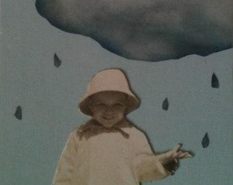tut, tut it looks like rain. original collage art tag, one of a kind paper collage.