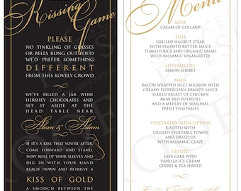 Wedding Menu Cards - Kissing game OR custom content