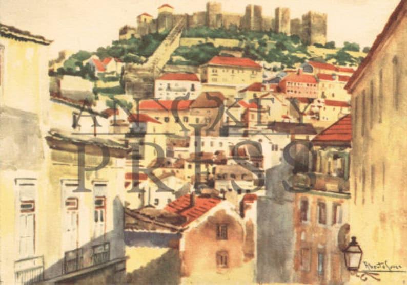 Vintage Postcard Reproduction - Castelo S  Jorge, Lisbon, Portugal