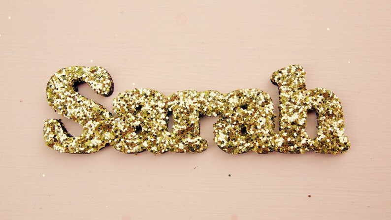 Glitter Jewellery! Custom Necklace Name Necklace Personalised Wooden Glittered Name Necklace Statement Jewellery Glitter Name Necklace