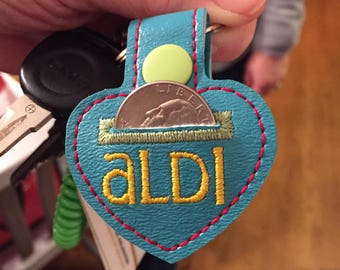 Aldi Quarter Keeper Aldi Keychain Aldi Quarter Holder Cart Coin Key Fob - Teal