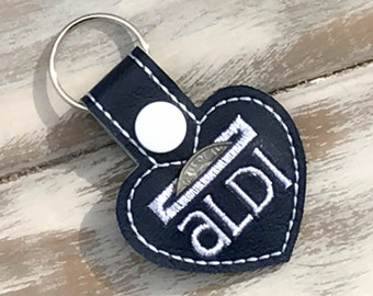 Aldi Quarter Keeper Keychain  Cart Coin Key Fob - Navy and White