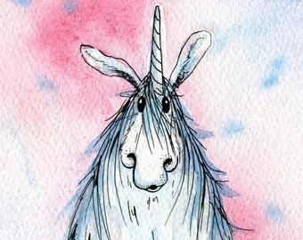 Limited edition print - Blue unicorn, unicorn print