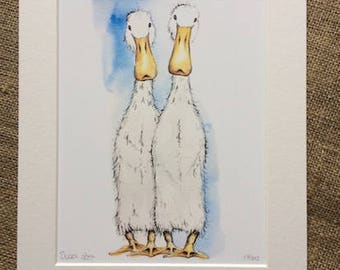 Limited edition print - Indian Runner Ducks print, duck print, Indian Runners