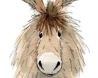 Limited edition print - Dennis the donkey, donkey print, donkey art