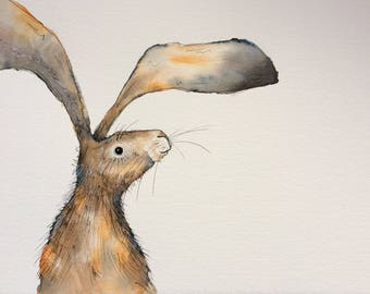 Side hare original watercolour painting, hare painting, rabbit picture, hare watercolour