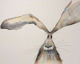 Hare original watercolour painting, hare face, hare picture, hare painting
