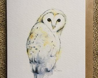 Barn Owl greetings card, blank inside
