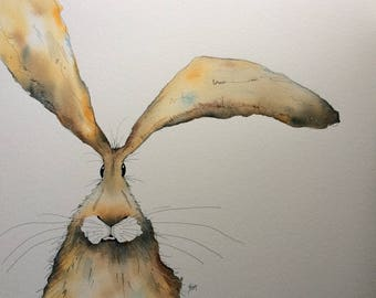 Hare original watercolour painting, large golden hare