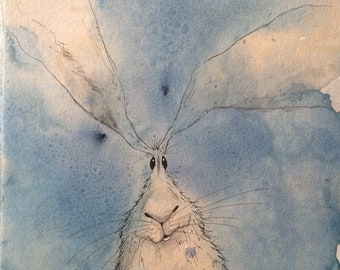 Hare original watercolour painting, blue hare picture, hare painting