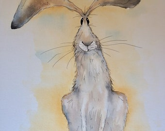 Sitting hare original watercolour painting, sitting hare, hare painting