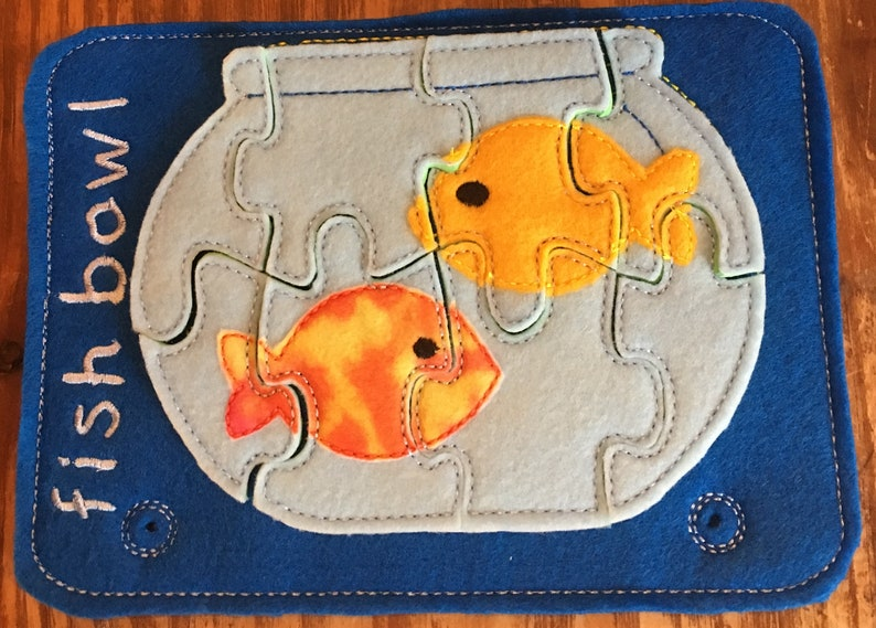 Busy Book Page Fish Bowl Puzzle has two fish in bowl teach logic memory  matching comprehension Montessori home school day care nursery