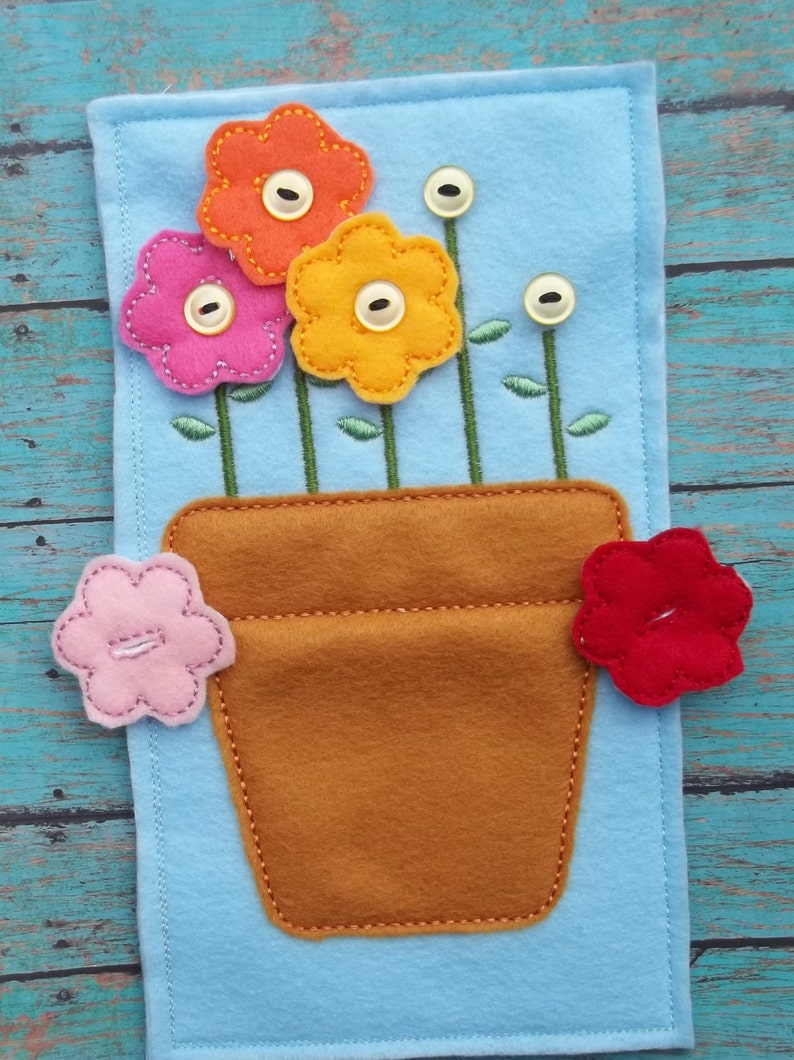 Button Flower Pot Learn to Button Five Flowers Set Quiet Busy image 0