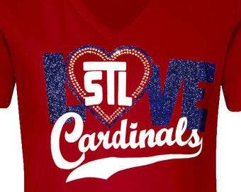 STL Cardinals 01 in Glitter & rhinestones vneck tee, cardinals shirt, cardinal fan shirt, Love Cardinals, Cardinals fan gift, STL baseball