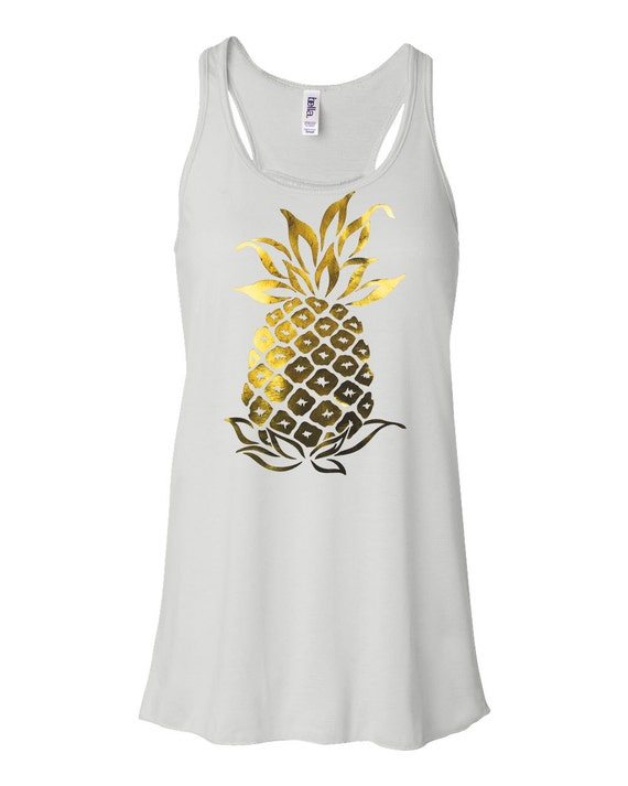 5ec77dd7b8b8f5 Pineapple tank top Gold foil Pineapple tshirt beach