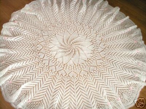 Hearts Circular Baby Shawl Knitting Pattern In 4ply Instant Etsy