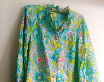 Vintage Floral House Coat/Dressing Gown, Maxi, Robe, Jacket, Flowers, Turquoise, Lime Green, Pink, White