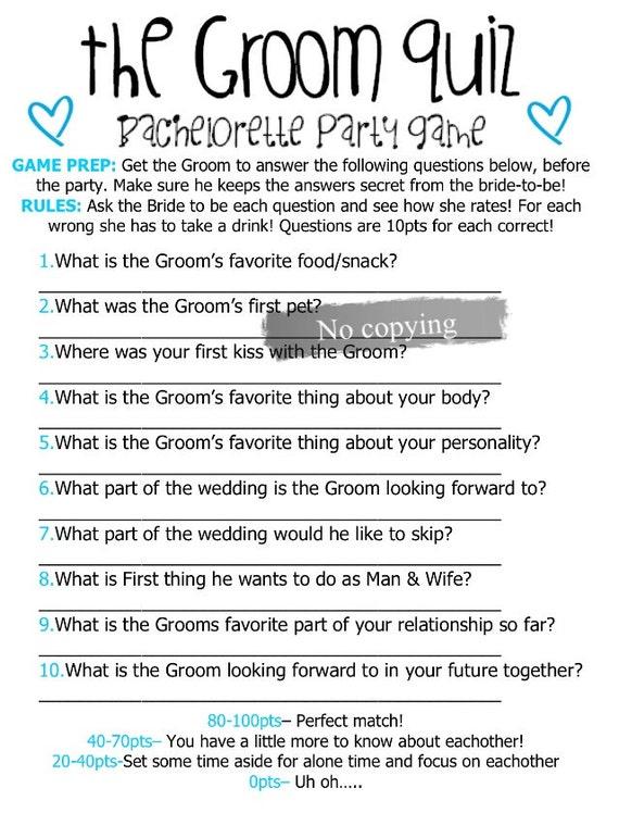Groom Quiz Bachelorette | Etsy