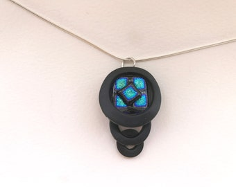 pendant, fused glass, dichroic glass, polymer clay pendant