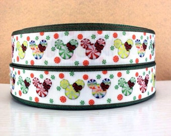 5 YDS Holiday Mickey Mouse Head Candy Ribbon