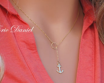 Lariat Style Anchor Necklace in 10K, 14K or 18K in Solid Gold, White, Yellow or Rose Gold, Dainty Anchor Necklace, Religious Jewelry Designs